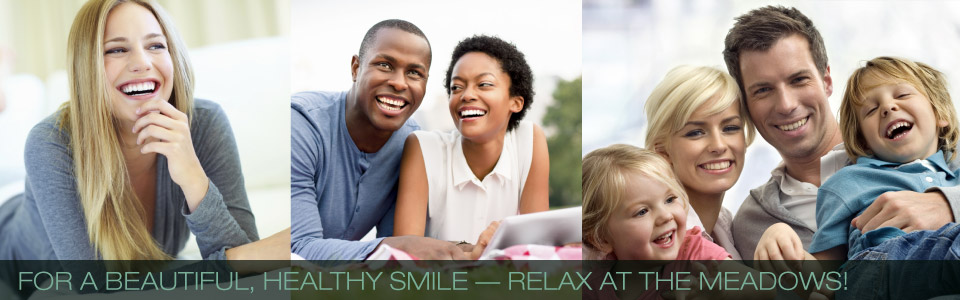 For a Beautiful, Healthy Smile — Relax at the Meadows! | young female adult smiling | young couple smiling outdoors | young couple with son and daughter